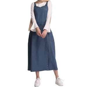 Muslim Denim Abaya Suspender Strap Maxi Dress Long Robe Musulman Ramadan Dubai Arab Islamic Turkish Clothing Kaftan Blue Dress