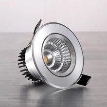 Pode ser escurecido led cob spotlight lâmpada do teto AC85-265V 3w 5 7 9 12 15 downlights recesso de alumínio redondo conduziu a luz do painel