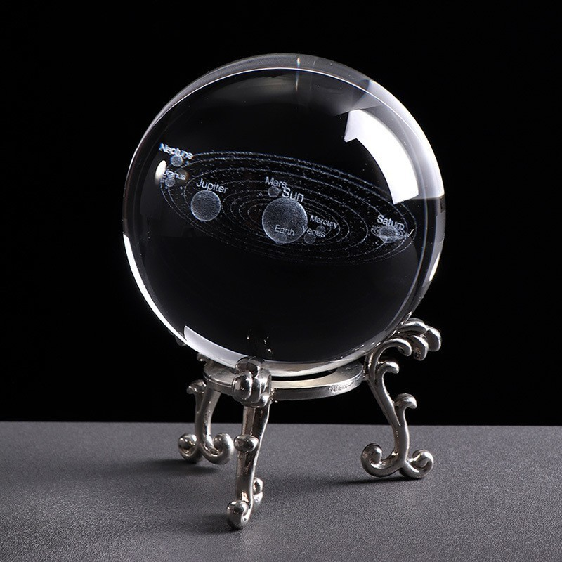 Laser Engraved Solar System Crystal Ball 3d Miniature Planets Model 6cm Globe Galaxy Miniatures For Birthday Gift Home Decor