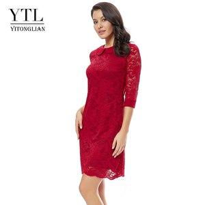 Image 2 - Ytl女性のレトロなヴィンテージ半袖ドレスエレガントなディナーパーティードレスブルゴーニュレース人形の襟プラスサイズドレス6XL 8XL h263