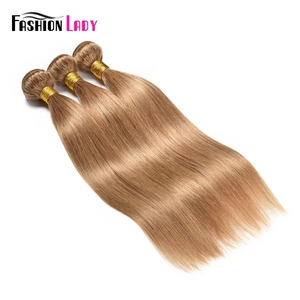 Image 3 - Fashion Lady Pre Colored Brazilian Hair Weave Bundles Blonde Human Hair Weave 27# Straight Hair Bundles Non remy