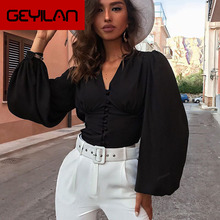 Hot sale 2019 Autumn new women shirts sexy Deep V-neck high