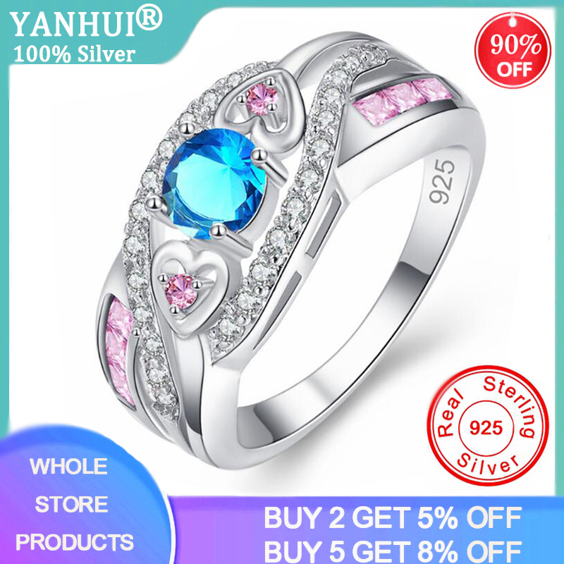 YANHUI Fashion Charming Nice Women Rings Party Jewelry Blue/Purple CZ Silver 925 Ring Size 5 6 7 8 9 10 11 12 13 Wholesale Gifts image