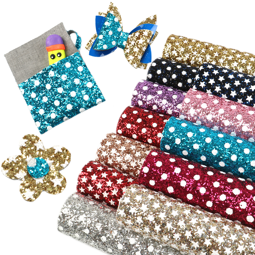 David Accessories 20*34cm Dot Sequins Faux Artificial Synthetic Leather Fabric Hair Bow Diy Decoration Crafts 1piece,1Yc4250
