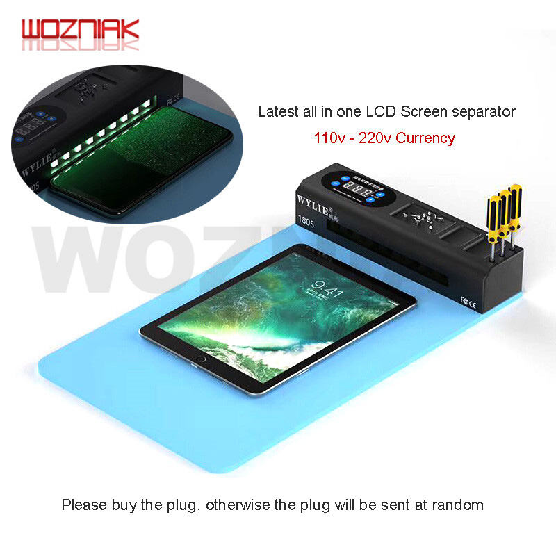 WYLIE WL-1805L Multi-function LCD Screen Preheat Separator Disassembly Tool + Dust Lamp For Mobile Phone Iphone Ipad Android
