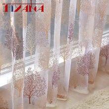 Luxo árvore sheer tule cortinas para sala de estar quarto cozinha voile sheer cortinas para janela tule t249 #4