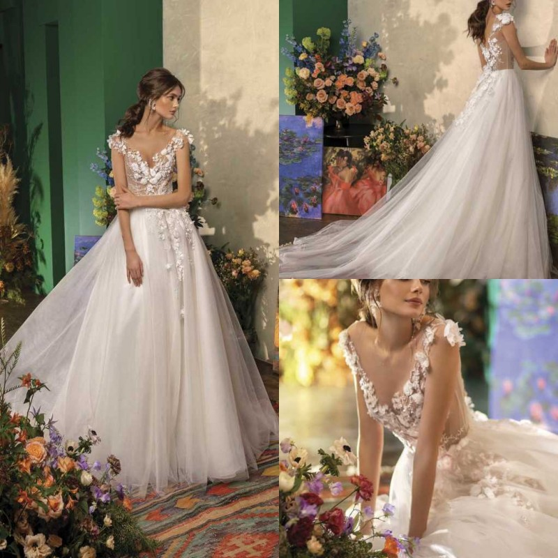 2020 Wedding Dresses V-Neck Capped Sleeve Lace Appliques Bridal Gowns Gorgeous Backless Sweep Train A Line Wedding Dress