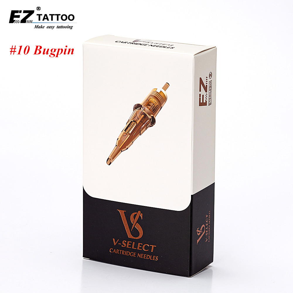 EZ V Select Cartridge Needles #10 (0.30 Mm) Round Liner Tattoo Needles With Safety Elastic Membrane For Cartridge Tattoo Machine