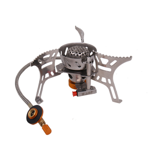 Image 2 - Portable Windproof Camping Gas Stove Outdoor Cooking Stove Foldable Split Burner with Gas Conversion Head Adapter