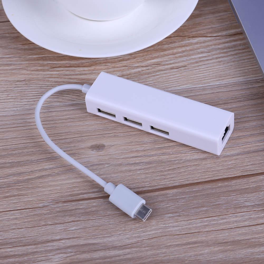 RJ45 Network Cable Port to USB 3.1 Type-C Converter Adapter with 3 USB Port Computer peripherals and accessories
