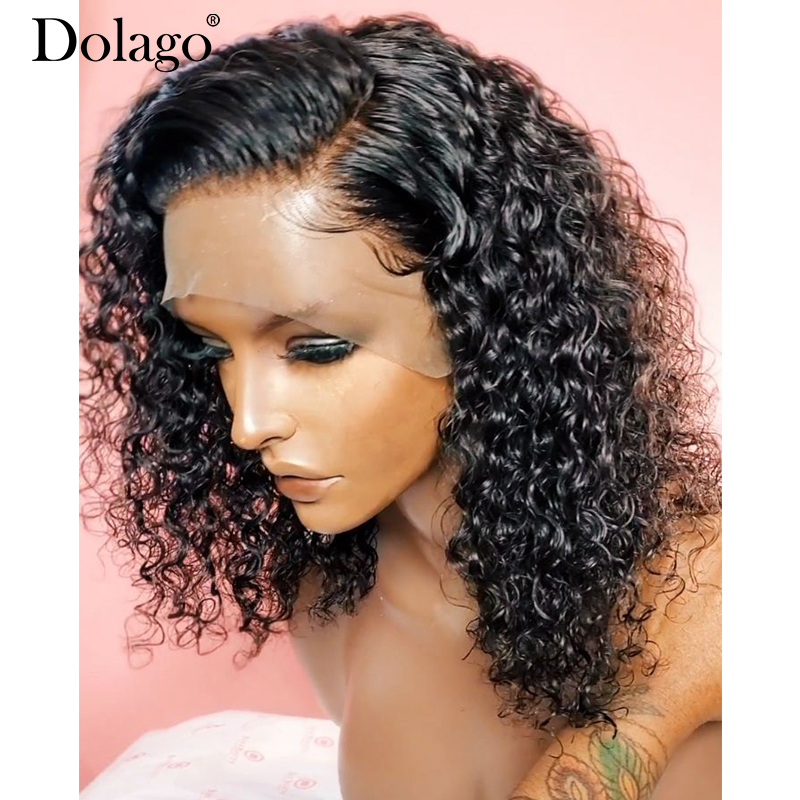 13x6 Lace Front Wig Short Human Hair Wigs Brazilian Lace Frontal Wig With Baby Hair Wavy Bob Curly 250 Density Dolago Wigs