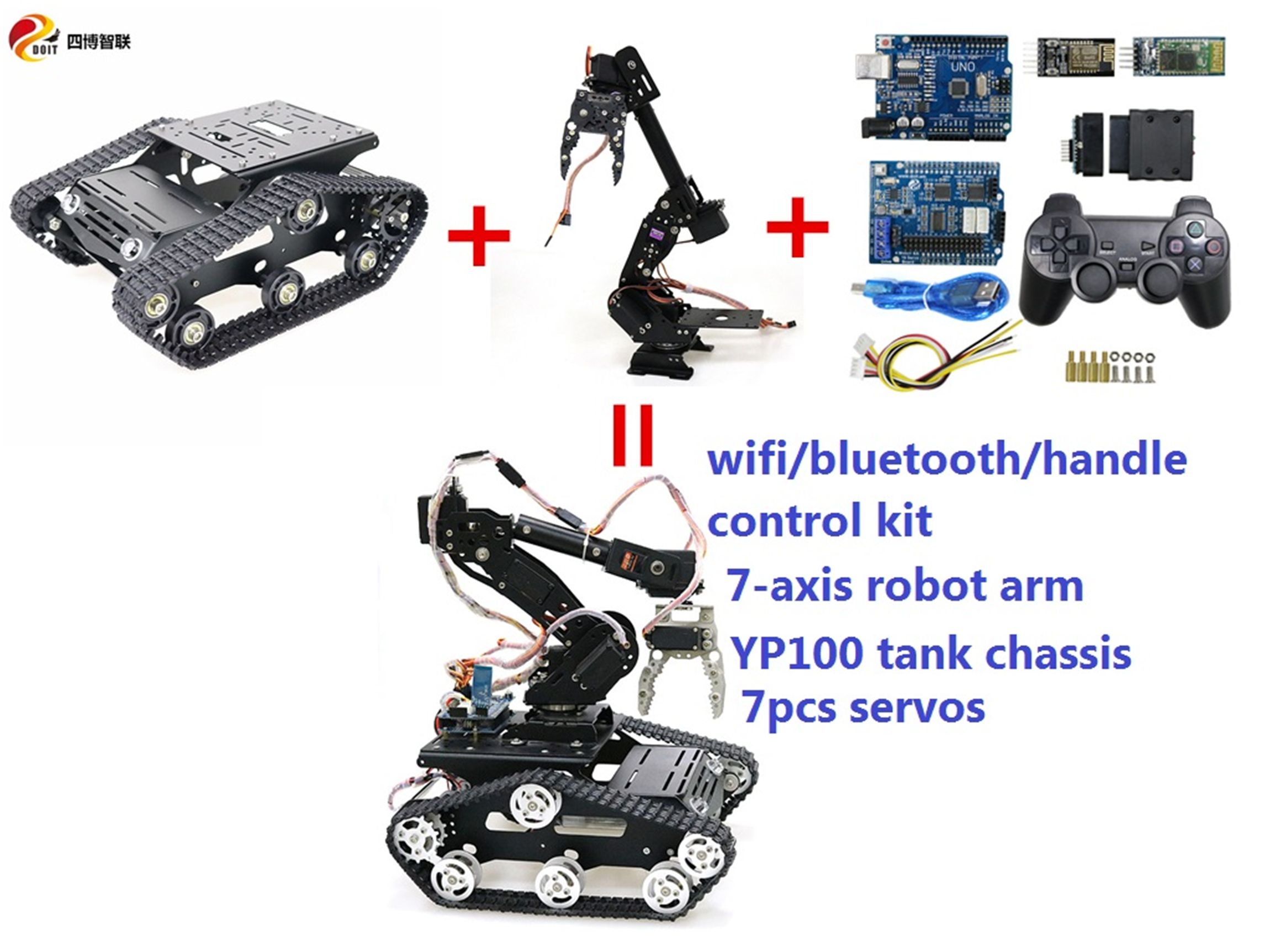 SZDOIT Wifi/Bluetooth/Handle Control Metal 8-axis Robot Arm with Gripper+YP100 RC Tank Chassis Kit Servos Motors DIY Education