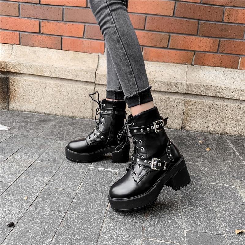YMECHIC Autumn 2019 Gothic Punk Lace Up Female Black Block High Heels Platform Thick Sole Combat Biker Ankle Boots Studded Shoes