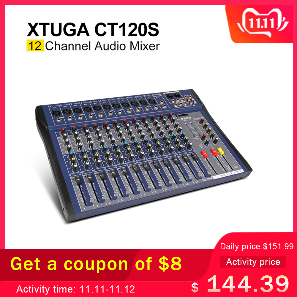 Xtuga CT120S-USB 12 Channels Mic Line Audio Mixer Mixing Console USB XLR Input 3-band EQ 48V Phantom Power With Power Adapter
