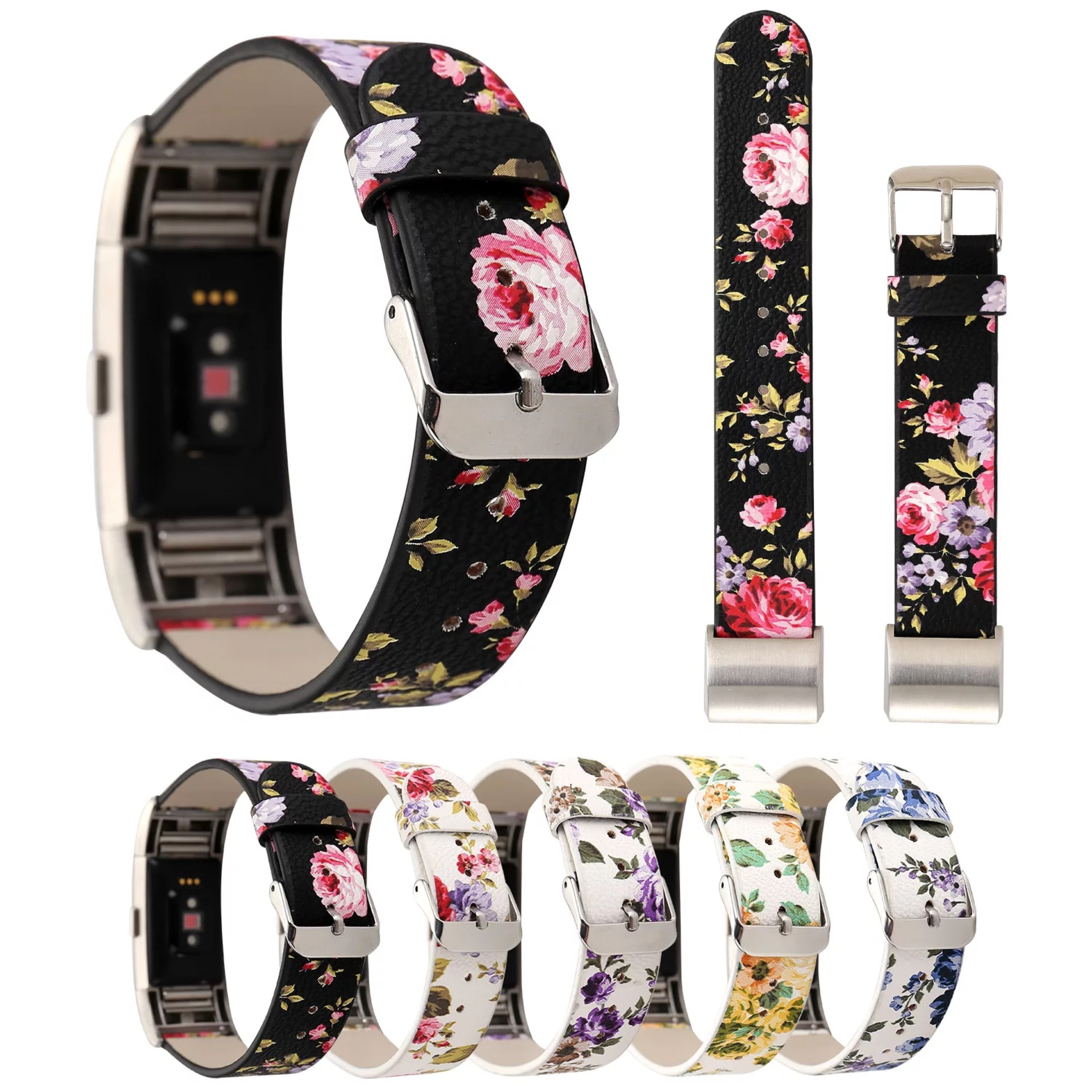 New Cross-border for Fitbit Charge2 Floral Leather Strap Charge 2 Printed