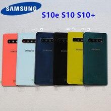 Gradiente cor s10 vidro da bateria capa traseira para samsung galaxy s10 plus g973 g973f g975 g975f porta traseira habitação capa adesivo