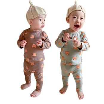 2021 wiosna nowe dziecięce dziecko śliczny nadruk niedźwiedzia z długim rękawem topy i spodnie piżamy z czystej bawełny zestaw Unisex zestaw ubrań dla chłopców tanie i dobre opinie Facejoyous COTTON Damsko-męskie W wieku 0-6m 7-12m 13-24m moda CN (pochodzenie) Wiosna i jesień Z okrągłym kołnierzykiem