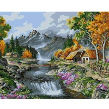 Painting By Numbers Landscape Oil On Canvas Handmade Decoration Home Wall Art 40X50cm