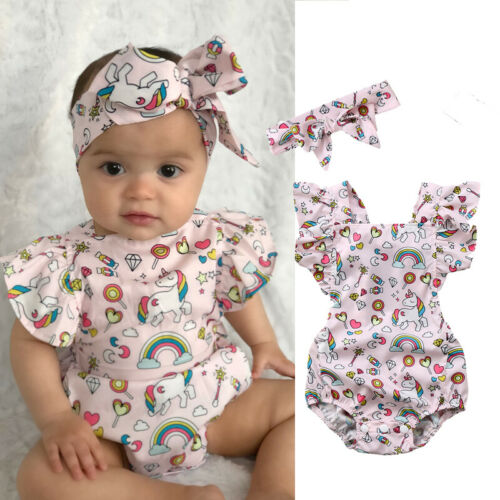 0-18 Months Summer Baby Girl Cute Animals Short Sleeve Bodysuit Headbands 2pcs Outfits Cotton Clothes