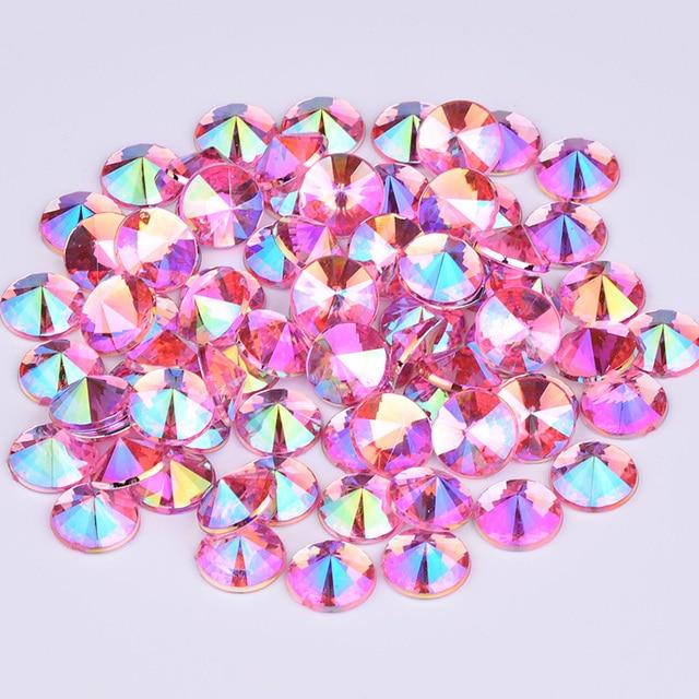JUNAO 4 5 6 10 mm Glitter Purple AB Face Rhinestones Flat Back Acrylic Stones Rivoli Crystal Applique Nail Art Decoration 2