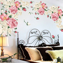 1PC Colorful Flowers Wall Stickers Beautiful Peony Adhesive Stickers Wardrobe Bedroom Living Room Decoration PVC Wall Decals colorful peony pattern removeable wall stickers