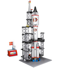COGO Compatible legoed City space shuttle Launch Spaceport rockets Building Blocks sets moc Station Kids Toys creator kit(China)