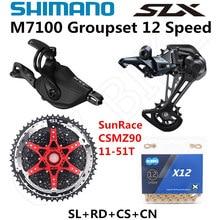 SHIMANO DEORE SLX M7100 Groupset MTB dağ bisikleti 1x12 Speed 51T SL + RD + CSMZ90 + X12 M7100 shifter arka attırıcı