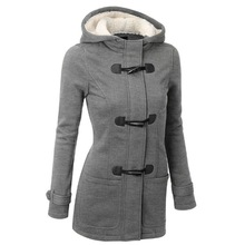 Best Selling Explosions Street Hipsters Hooded Cotton Classic Hhorn Leather Buckle Slim Long-sleeved Coat Winter Clothes