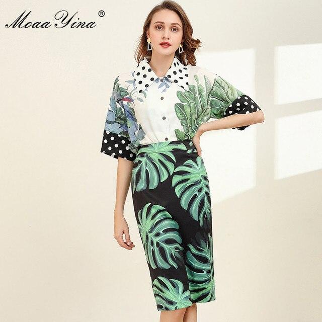 MoaaYina Fashion Designer Set Spring Women Half sleeve Shirt Tops+Green leaf Print Package buttocks Skirt Elegant Two piece set