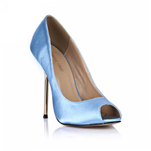 Spring Autumn New 11cm High Heel Pumps Satin Bridals Fashion Women Stiletto Thin heel Peep Toe Sexy Party Dress Lady Shoes 5-a5 yanicuding brand peep toe high thin heel satin women slipper bow tie embellish women slides street style runway super star shoes
