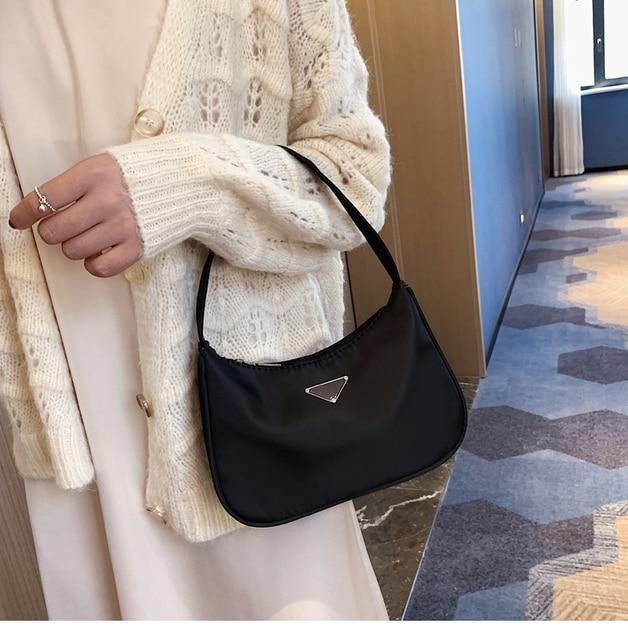 Sac à bandoulière couleur bonbon pour dames Vintage en Nylon Hobos épaule sac à main mode Frabic sac à bandoulière Hobos sac à main sac Baguette