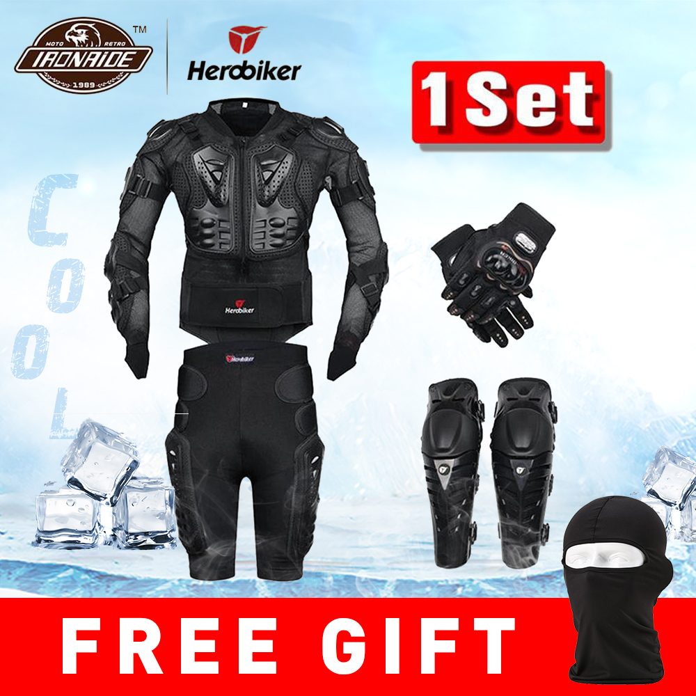 moto tělo - New Moto Motocross Racing Motorcycle Body Armor Protective Gear Motorcycle Jacket+Shorts Pants+Protection Knee Pads+Gloves Guard