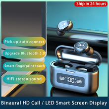 Nieuwe Bluetooth Oortelefoon V5.0 9D Hifi Draadloze Hoofdtelefoon Sport Waterdicht 2000Mah Led Oortelefoon Tws Draadloze Oordopjes Headset