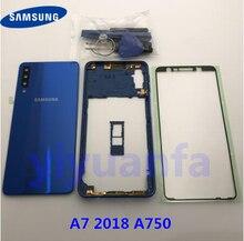 Original สำหรับ Samsung Galaxy A7 2018 A750 A750F ฝาหลังแบตเตอรี่แก้วประตูเต็มรูปแบบกรณี A750 กลางกรอบสติกเกอร์