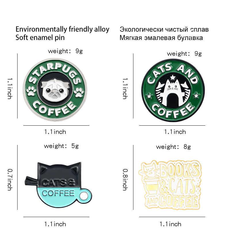 Yaratıcı karikatür yuvarlak broş cut pin hayvan kediler kahve kitap rozeti emaye sırt çantası yaka pin şapka takı arkadaşlar için hediye