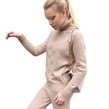 MVGIRLRU soft Malha de lã terno fatos de Treino das Mulheres do outono inverno Torção tricô camisola de gola alta calça duas peças define plus size