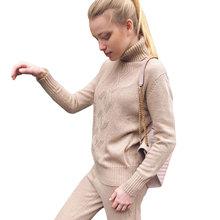 MVGIRLRU soft wool Knitted suit autumn winter Womens Tracksuits Twist knitting turtleneck sweater pant two piece sets plus size