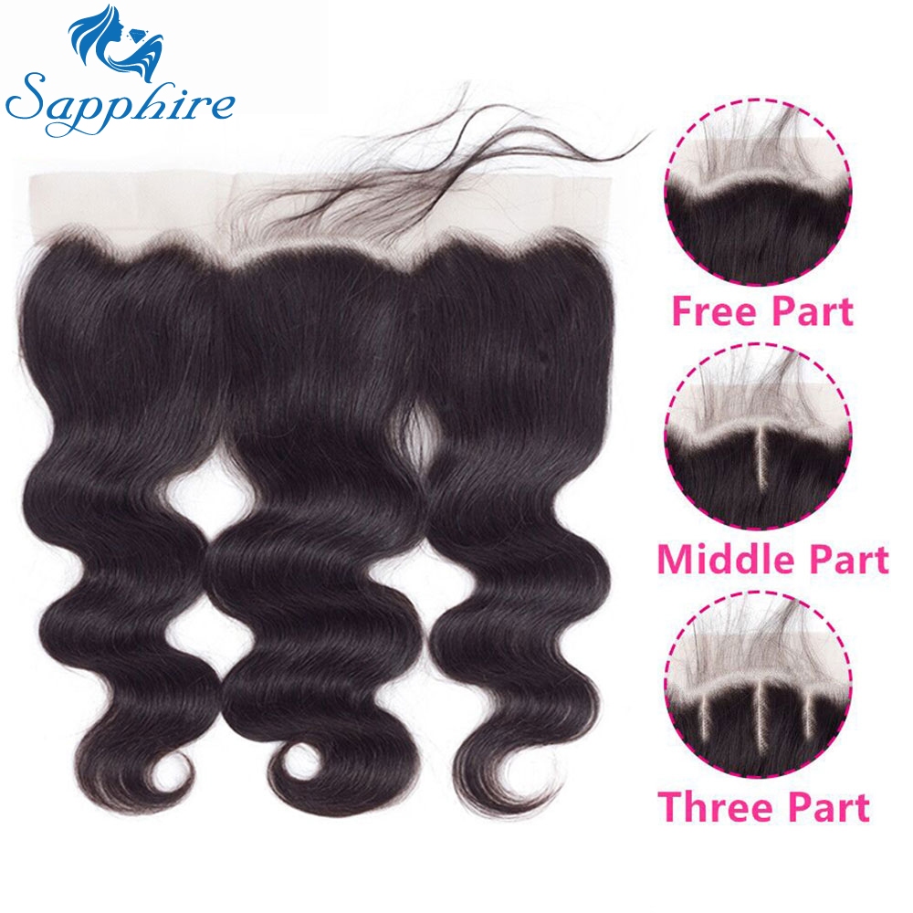Sapphire Hair Lace Frontal Closure Brazilian Hair Body Wave 13x4 Free Part Remy Human Hair Closure With Baby Hair Natural Color