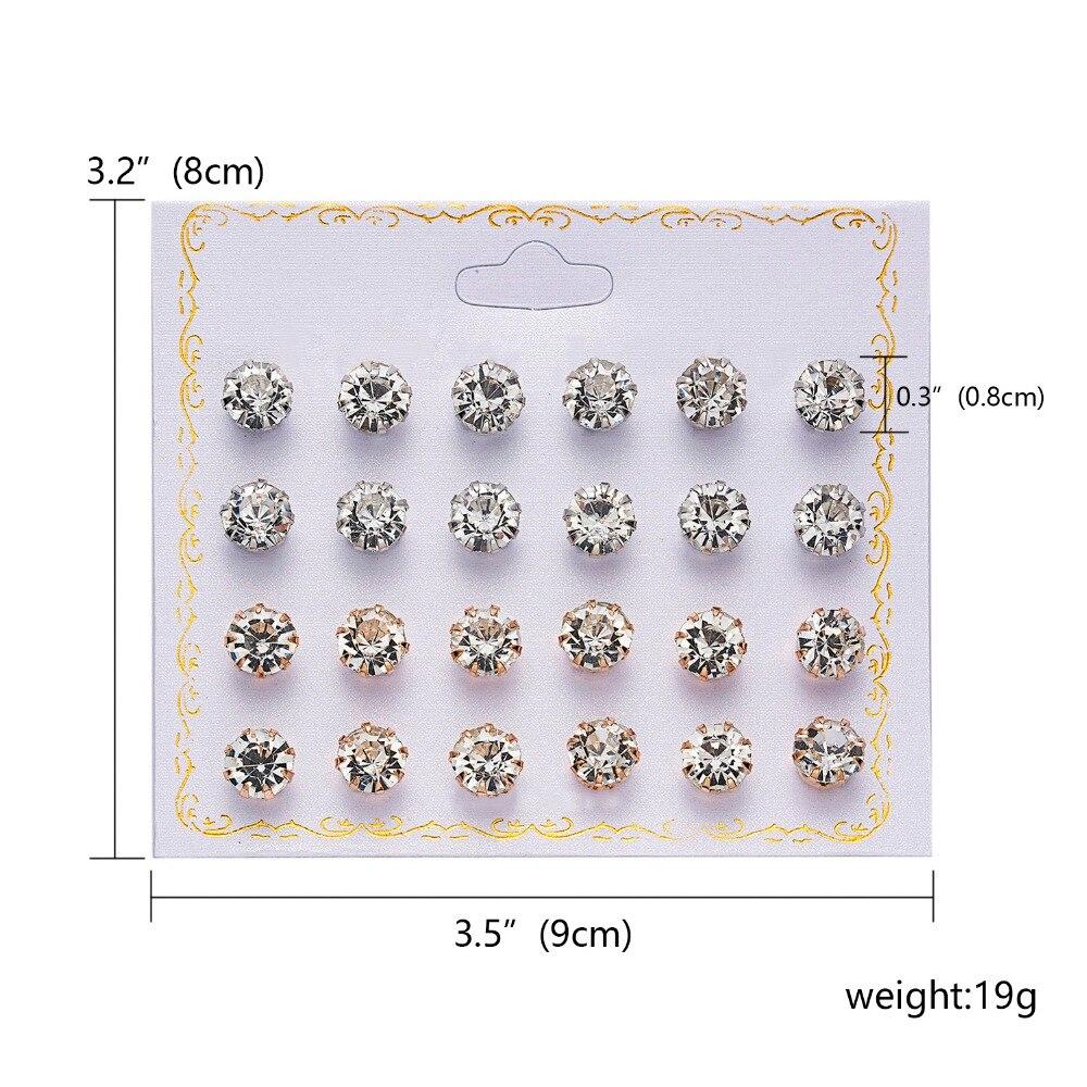 12 Pairs/set Stud Earrings Set With Card Transparent Zircon Balls Love Flowers Earrings Women Imulated Pearl Earrings Jewelry 57