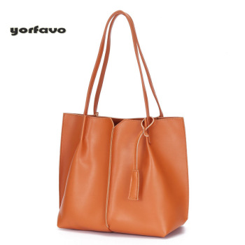 Wholesale price High quality New European and American style solid color women bag with large capacity genuine leather handbag