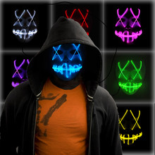 Glowing Light LED Mask Halloween Party Masque Masquerade Masks Neon Maske Glow Mascara Horror Maska Glowing Maske hot halloween mask led maske light party masks neon maska cosplay mascara horror mascarillas glow in dark masque for vendetta