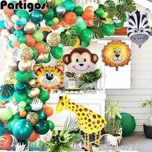 Jungla Safari Fiesta Temática globo set de guirnaldas globos de animales hojas de palma para cumpleaños para niños fiesta decoración de baño de bebé