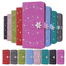 Bling Sticker Diamond PU Leather CaseFor Samsung A7 2018 Flip Magnetic Closure Wallet Case For A20S A20E A30S J4 J6 Plus