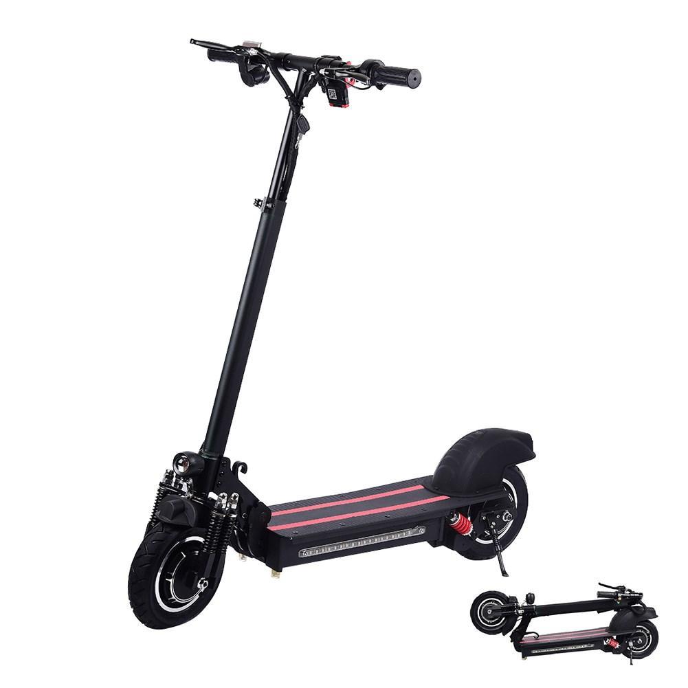 10 pouces Double-roues motrices Scooter électrique 1200 watts gamme de moteur 40-50Km avec pneus tout-terrain pliant 48 V/22Ah noir rouge