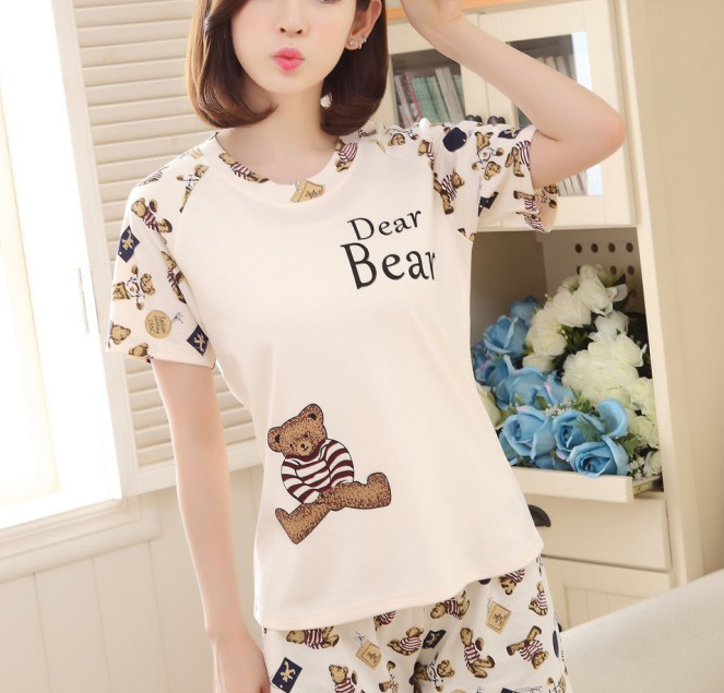 Summer Short-sleeved Pajamas Women's Cartoon Hot Selling Bear Pajamas Suit Tracksuit M-XXL
