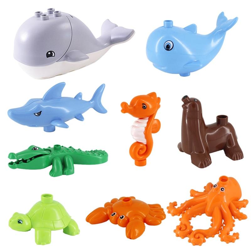 Ocean Animal Series Blocks Whale Shark Sea Lion Hippo Crocodile Octopus Model Toys Building Blocks Accessories  For Large Bricks