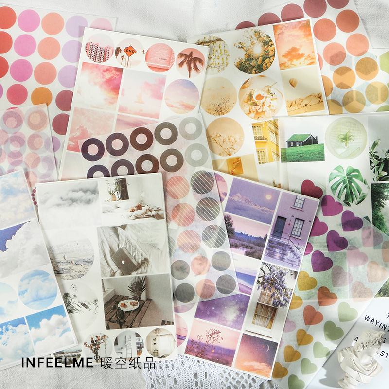 2 Sheets Street Photography Flat Stickers Cute Creative Daily Life Stationery Scrapbooking Gift Girl School Supplies