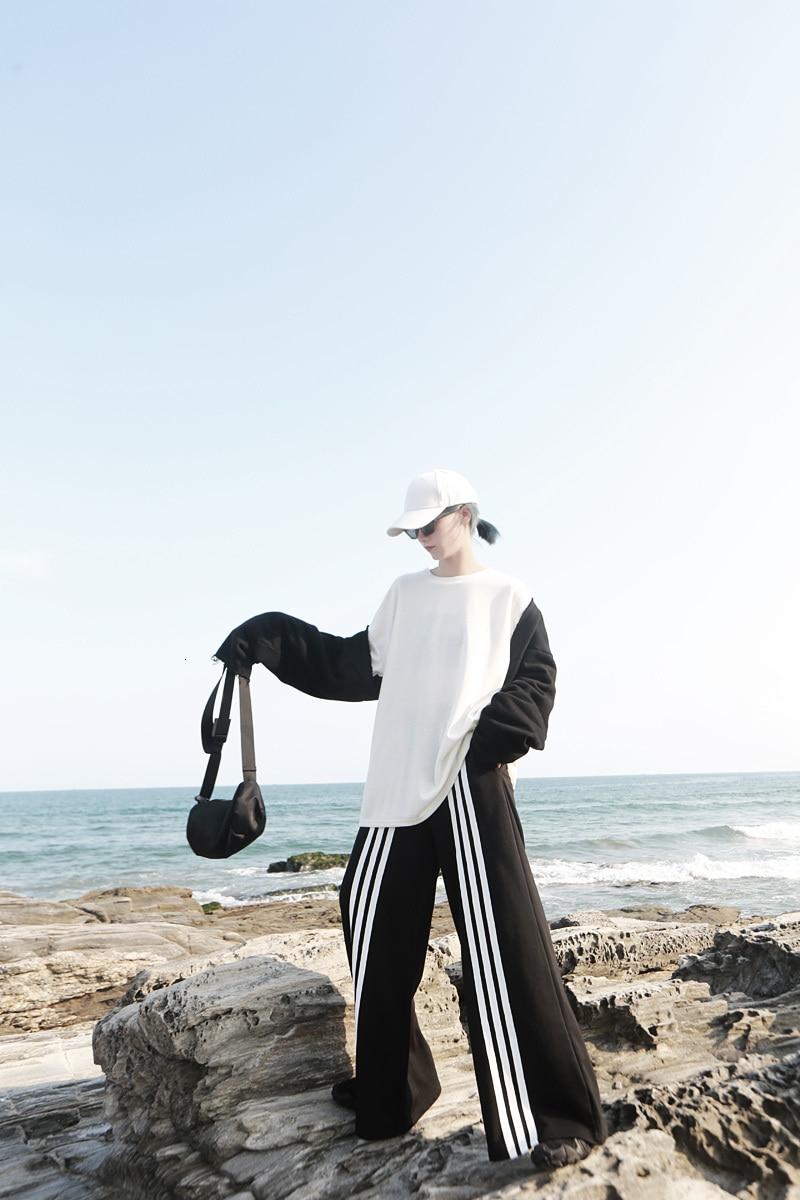 New Fashion Style High Elastic Waist Black Striped Long Wide Leg Trousers Fashion Nova Clothing
