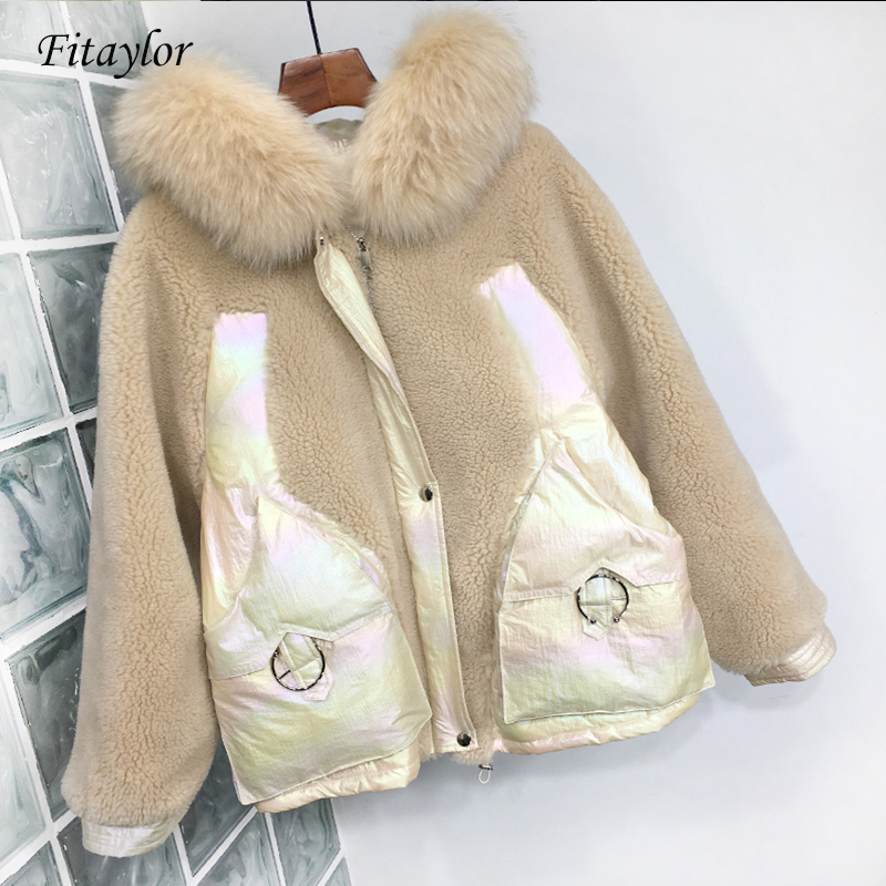 Fitaylor New Natural Fox Fur Duck Down Jacket Women Coat Hooded Parkas Female Lambswool Patchwork Glossy Down Outwear