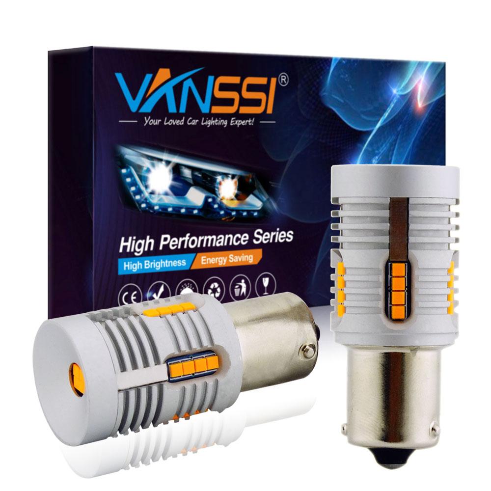 VANSSI 2 шт., без ошибок Canbus, BAU15S, светодиодный, без Hyper Flash, желтый, желтый, 24-SMD 2020, светодиодный, 7507, PY21W, светодиодный, для указателей поворота